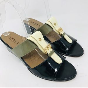 Anyi Lu Lucy Heeled Sandals Colorblock Patent 38